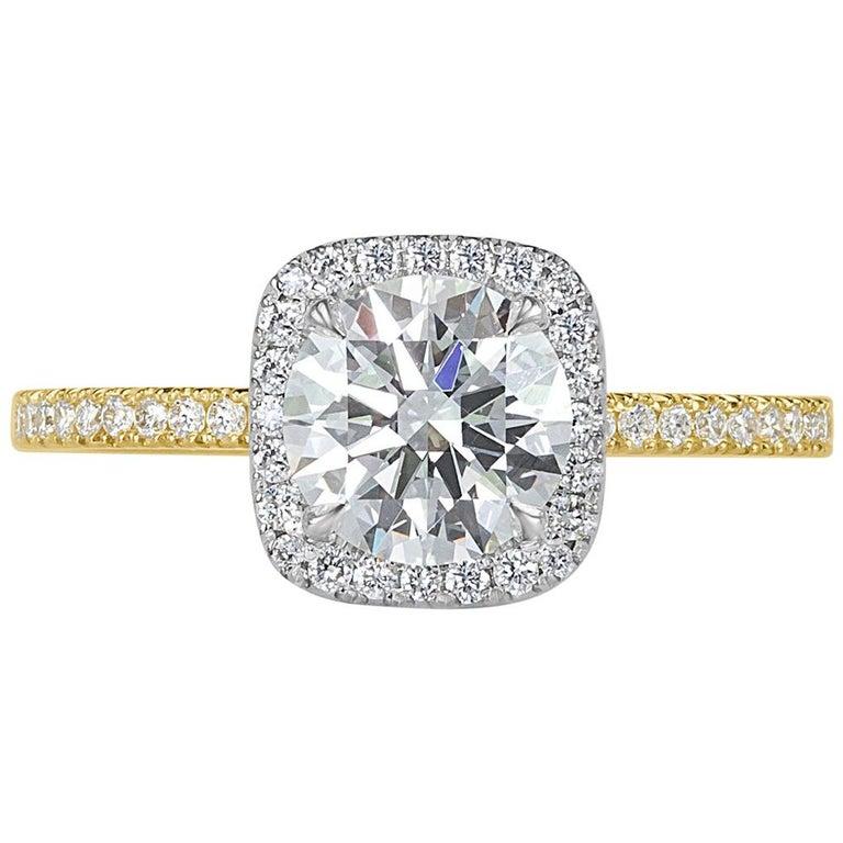 Mark Broumand 1.33 Carat Round Brilliant Cut Diamond Engagement Ring For Sale