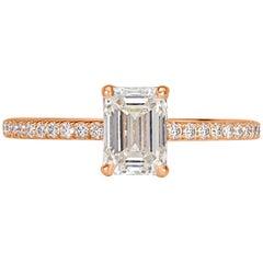 Mark Broumand 1.34 Carat Emerald Cut Diamond Engagement Ring