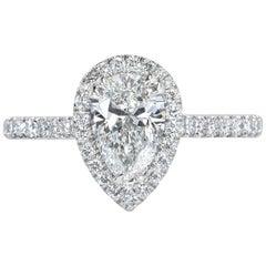 Mark Broumand  1.43 Carat Pear Shaped Diamond Engagement Ring