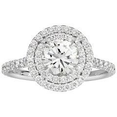 Mark Broumand 1.43 Carat Round Brilliant Cut Diamond Engagement Ring