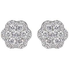 Mark Broumand 1.44 Carat Round Brilliant Cut Diamond Floral Stud Earrings