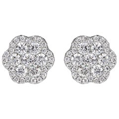 Mark Broumand 1.44 Carat Round Brilliant Cut Diamond Floral Stud Earrings