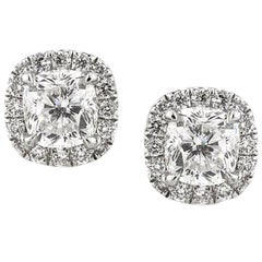 Mark Broumand 1.50 Carat Cushion Cut Diamond Stud Earrings