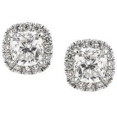 Mark Broumand 1.50 Carat Cushion Cut Diamond Stud Earrings