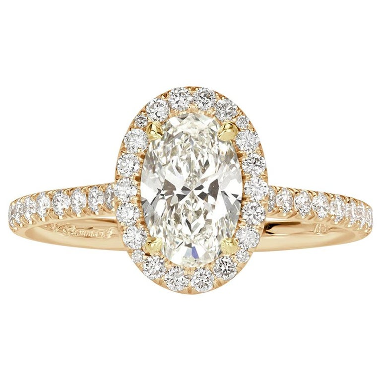 Mark Broumand 1.50 Carat Oval Cut Diamond Engagement Ring For Sale