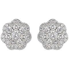 Mark Broumand 1.50 Carat Round Brilliant Cut Diamond Floral Halo Stud Earrings