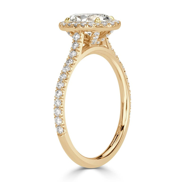 Women's or Men's Mark Broumand 1.50 Carat Oval Cut Diamond Engagement Ring For Sale