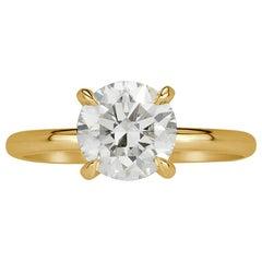 Mark Broumand 1.53 Carat Round Brilliant Cut Diamond Engagement Ring