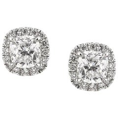 Mark Broumand 1.55 Carat Cushion Cut Diamond Stud Earrings