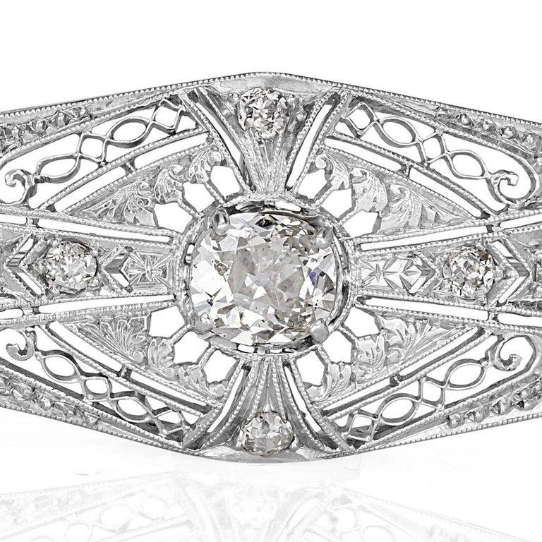 Women's or Men's 1.60 Carat Old Mine and Old European Cut Diamond Art Deco Style Pendant For Sale