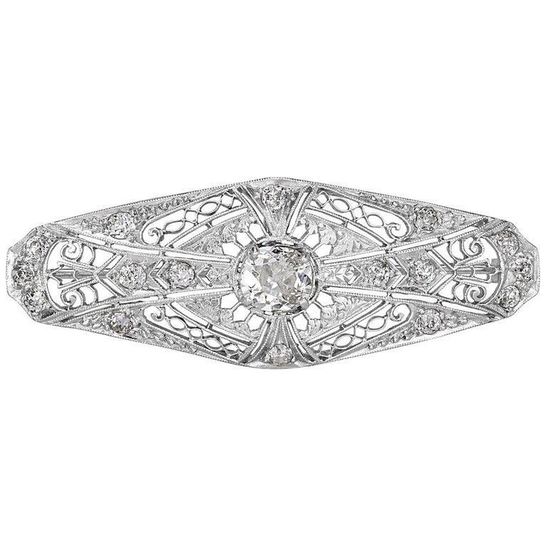1.60 Carat Old Mine and Old European Cut Diamond Art Deco Style Pendant For Sale