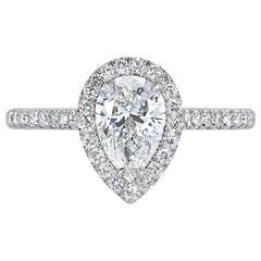 Mark Broumand 1.61 Carat Pear Shaped Diamond Engagement Ring