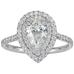 Mark Broumand 1.62 Carat Pear Shaped Diamond Engagement Ring