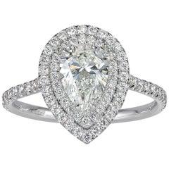 Mark Broumand 1.65 Carat Pear Shaped Diamond Engagement Ring