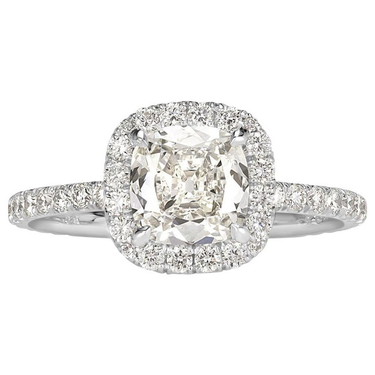 Mark Broumand 1.67 Carat Old Mine Cut Diamond Engagement Ring For Sale