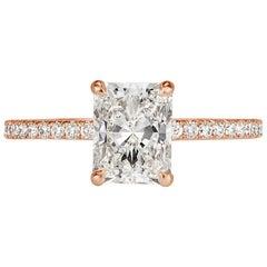 Mark Broumand 1.67 Carat Radiant Cut Diamond Engagement Ring