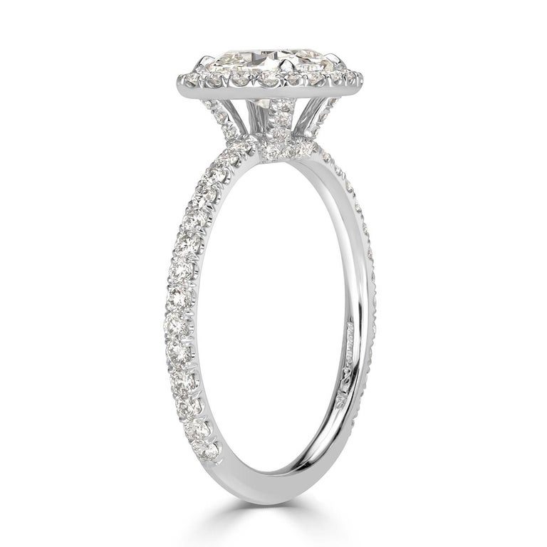 Women's or Men's Mark Broumand 1.67 Carat Old Mine Cut Diamond Engagement Ring For Sale