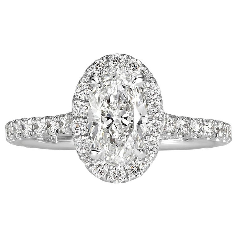 Mark Broumand 1.68 Carat Oval Cut Diamond Engagement Ring For Sale