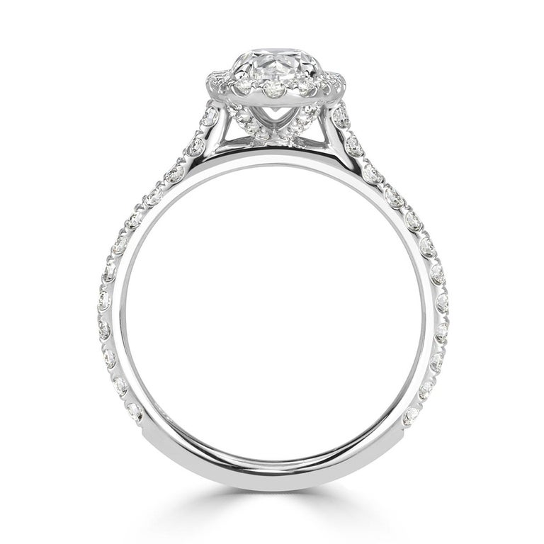 Women's or Men's Mark Broumand 1.68 Carat Oval Cut Diamond Engagement Ring For Sale