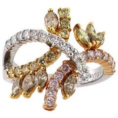 Mark Broumand 1.70 Carat Marquise and Round Brilliant Cut Diamond Ring