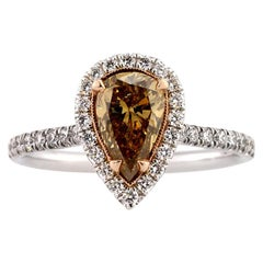 Mark Broumand 1.77 Carat Fancy Colored Pear Shaped Diamond Engagement Ring