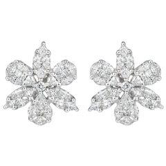 Mark Broumand 1.85 Carat Floral Cluster Diamond Earrings