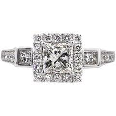 Mark Broumand 1.85 Carat Princess Cut Diamond Engagement Ring