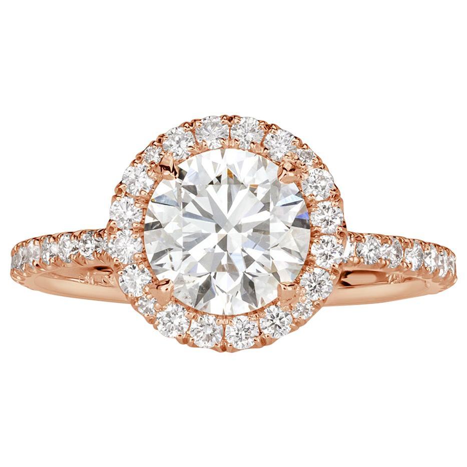 Mark Broumand 1.89 Carat Round Brilliant Cut Diamond Engagement Ring