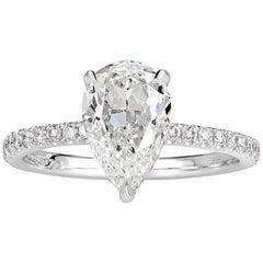 Mark Broumand 1.92 Carat Pear Shaped Diamond Engagement Ring