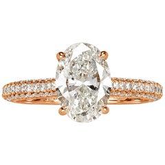 Mark Broumand 1.97 Carat Oval Cut Diamond Engagement Ring