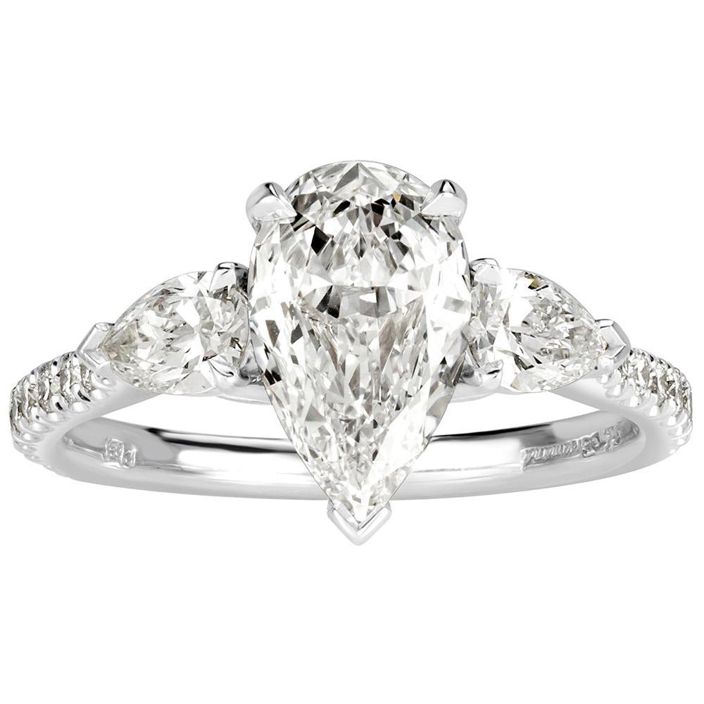Mark Broumand 1.97 Carat Pear Shaped Diamond Engagement Ring