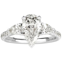 Mark Broumand 1.97 Carat Pear Shaped Diamond Engagement Ring