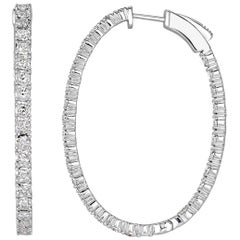 Mark Broumand 1.98 Carat Round Brilliant Cut Diamond Hoop Earrings