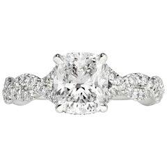 Mark Broumand 2.01 Carat Cushion Cut Diamond Engagement Ring
