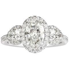 Mark Broumand 2.01 Carat Oval Cut Diamond Engagement Ring