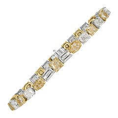 Mark Broumand 20.23 Carat Fancy Yellow and White Diamond Bracelet