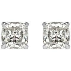Mark Broumand 2.04 Carat Old Mine Cut Diamond Stud Earrings