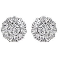 Mark Broumand 2.08 Carat Round Brilliant Cut Diamond Floral Halo Stud Earrings