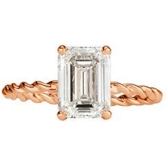 Mark Broumand 2.09 Carat Emerald Cut Diamond Engagement Ring