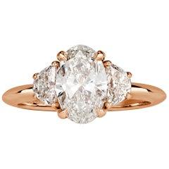 Mark Broumand 2.09 Carat Oval Cut Diamond Engagement Ring
