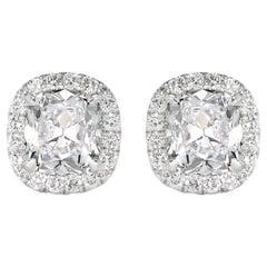 Mark Broumand 2.15 Carat Old Mine Cut Diamond Halo Stud Earrings