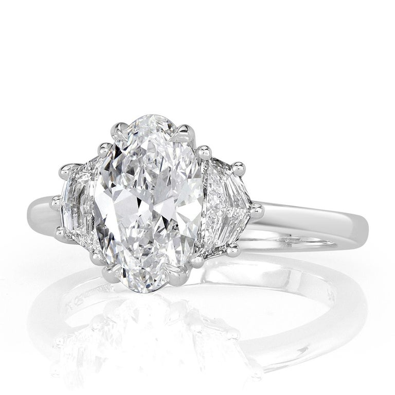 Women's or Men's Mark Broumand 2.17 Carat Oval Cut Diamond Engagement Ring For Sale