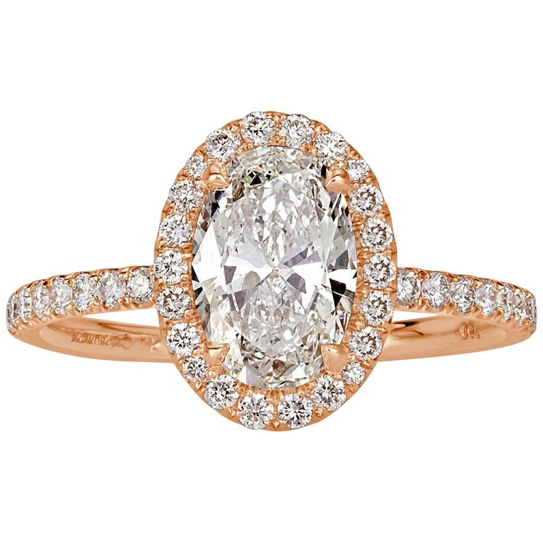 Mark Broumand 2.18 Carat Oval Cut Diamond Engagement Ring For Sale