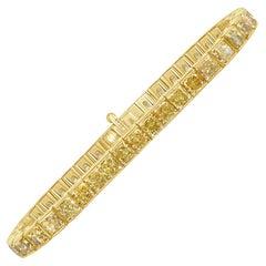 Mark Broumand 22.66 Carat Radiant Cut Fancy Yellow Diamond Tennis Bracelet