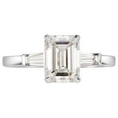 Mark Broumand 2.31 Carat Emerald Cut Diamond Engagement Ring