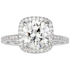 Mark Broumand 2.31 Carat Round Brilliant Cut Diamond Engagement Ring