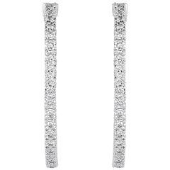 Mark Broumand 2.37 Carat Round Brilliant Cut Diamond Hoop Earrings