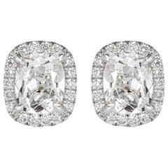 Mark Broumand 2.41 Carat Old Mine Cut Diamond Halo Stud Earrings