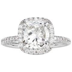 Mark Broumand 2.47 Carat Cushion Cut Diamond Engagement Ring