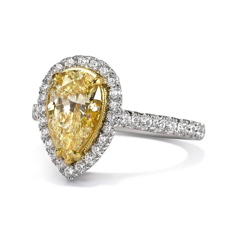 cut engagement beers diamond aura cushion de yellow canary ring rings